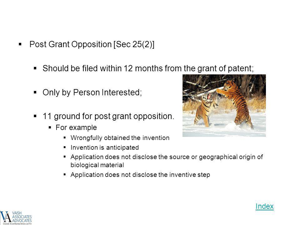 Post Grant Opposition [Sec 25(2)]